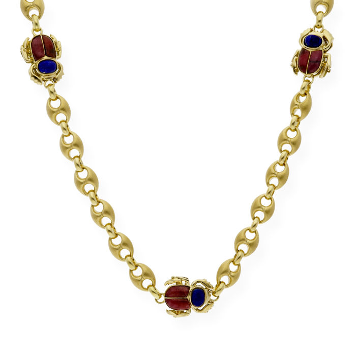 Yellow gold, 18 kt - Heavy choker with an Egyptian beetle motif - Lapis lazuli - Rhodonite