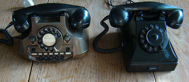 Copper and Bakelite telephone, the Netherlands, early/mid 20th century