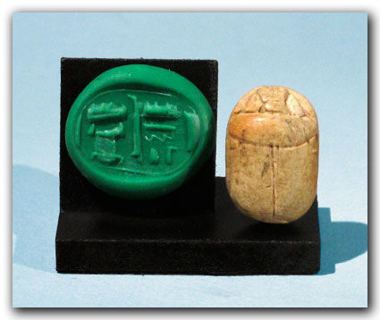 Phoenician-Canaanite Steatite Scarab with Hieroglyphs, 2.6 cm L