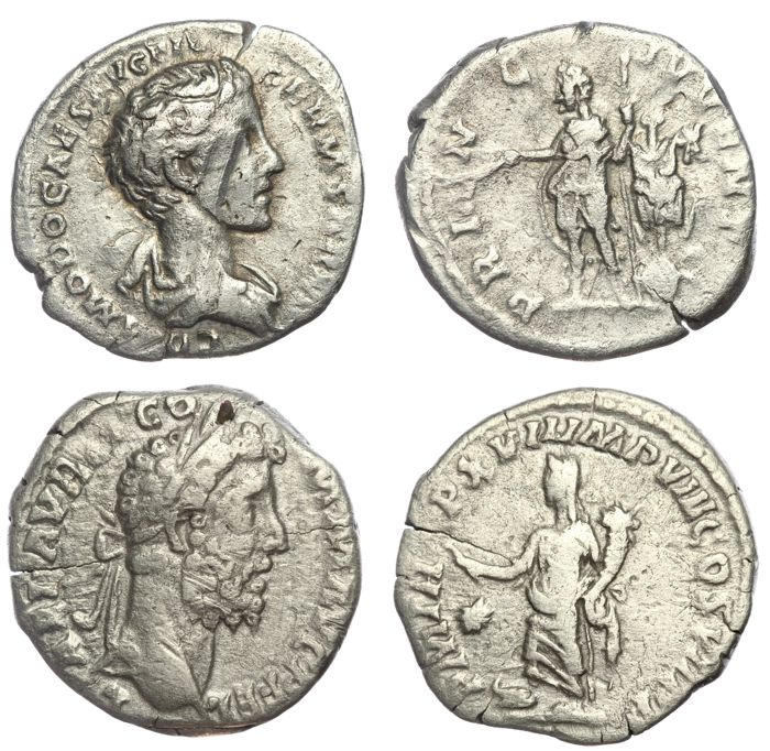 Roman Empire - Two AR denarius - Commodus - Fortuna (RIC 235, 2,89g 17mm) & Princeps Juventutis (RIC 616, 2,72g 18mm) (2x)