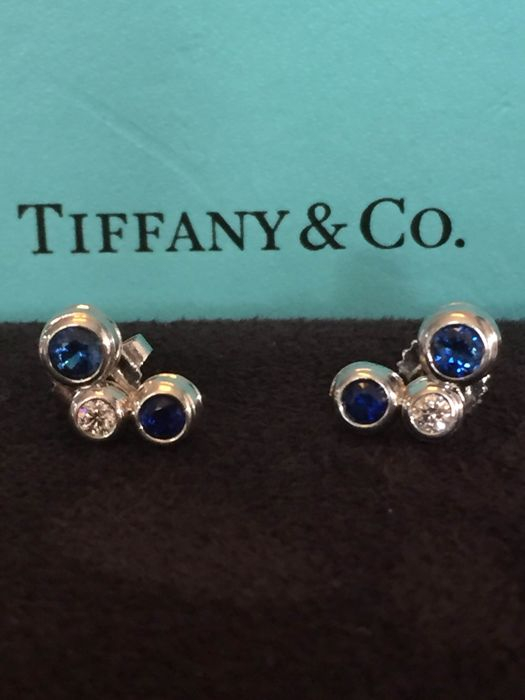 Tiffany Bubbles Earrings in Platinum with Sapphire and Diamond - 11 x 7 mm