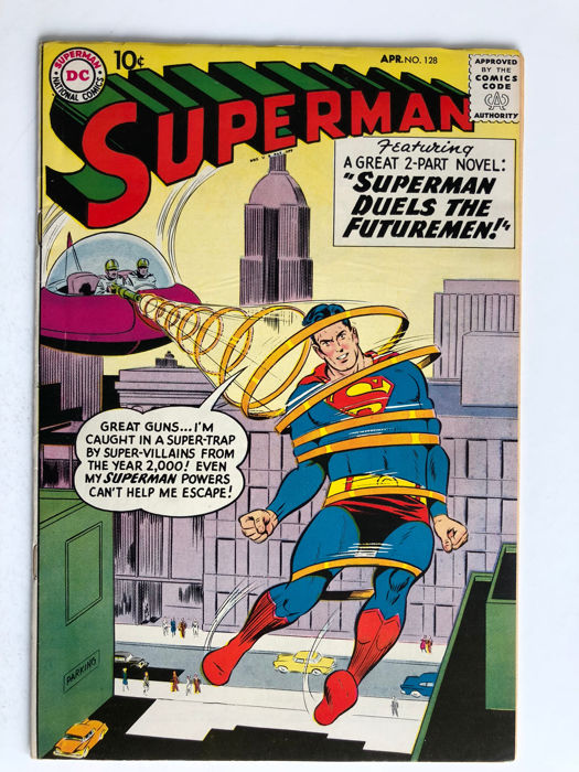DC Comics - Superman #128 - Red Kryptonite Used Bruce Wayne X-0ver Who Protects Superman's ID - Very High Grade!! - 1x sc - (1959)