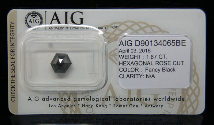 1.87 ct. Certified Natural Fancy Black Diamond - NO RESERVE