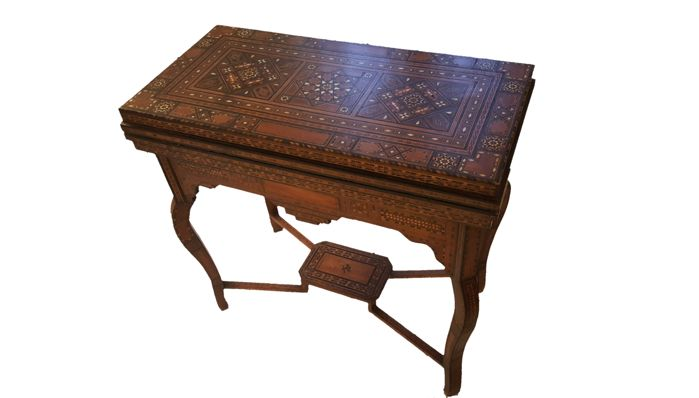 A fruitwood and mother-of-pearl marquetry games table, attributed to Giuseppe Parvis (1831-1909), late 19th century
