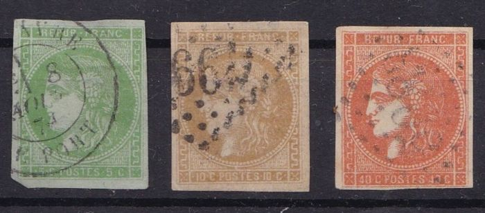 France 1870 -Yvert 42B, 43A and 48