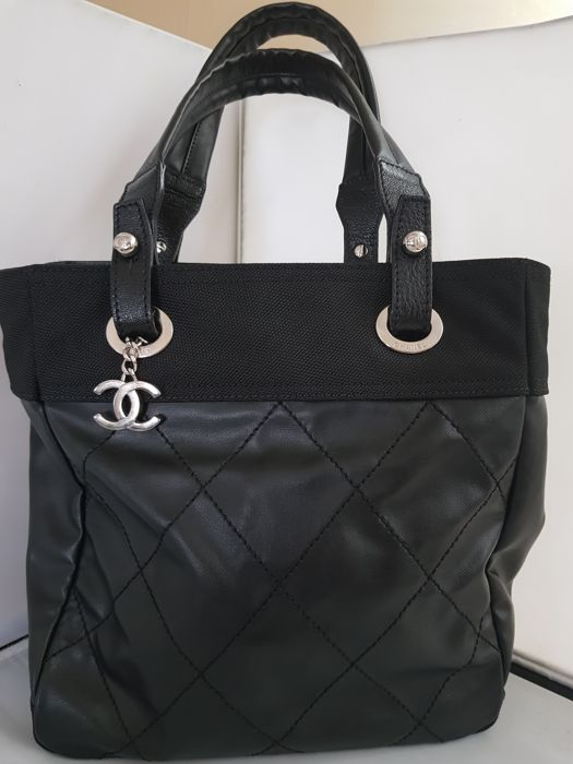 Chanel - Black Quilted Coated Canvas Paris Biarritz Tote bag