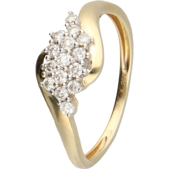 14kt - Yellow gold ring set with 15 brilliant cut diamonds of in total approx. 0.15 ct. - ring size: 16.5 mm