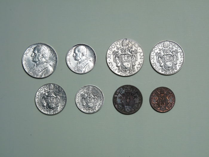 Vatican - Complete Series of 8 Lira Coins (with Silver), Pope Pius XI - Year VIII, 1936