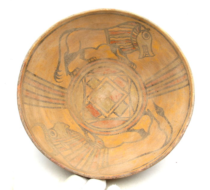 Ancient Indus Valley Painted Terracotta Bowl with Bull & Lion Motif - 225x91mm