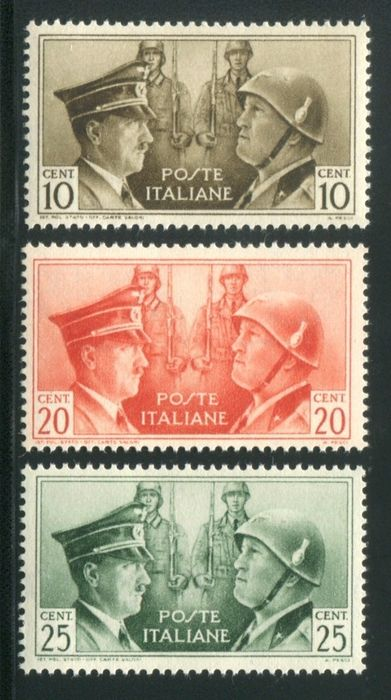 Kingdom of Italy 1941 - Italian/German Brotherhood in Arms - Non-issued series - 3 values - Sassone 457 A/B/C