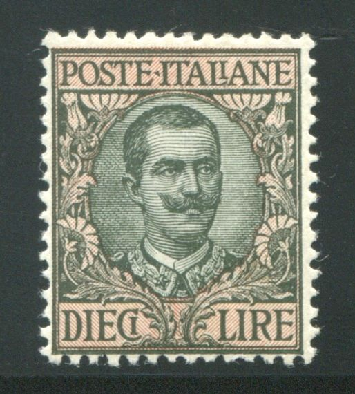 Italy, Kingdom 1910 - Vittorio Emanuele 10 Lire olive and pink - Sass.  No 91