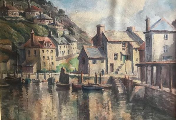 L.M.Rowe (20e eeuw) - View of Polperro Harbour with fishing boats (2)