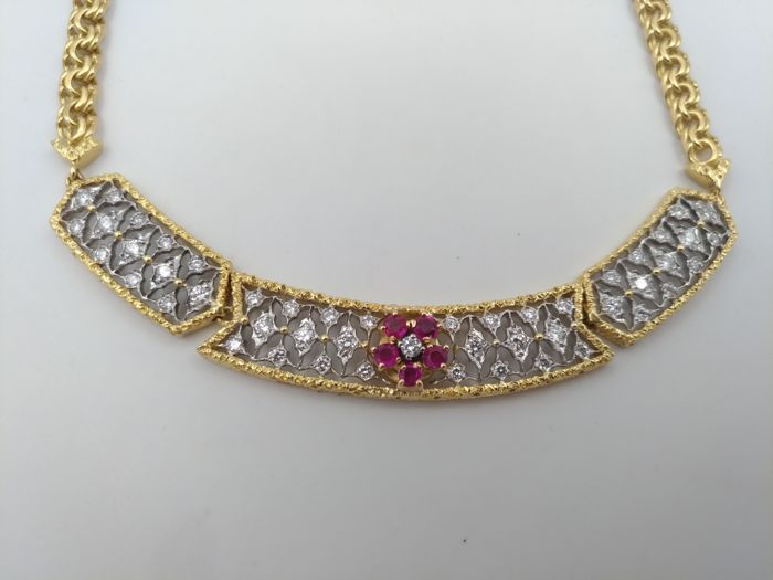 Gold and diamond choker with flower of rubies