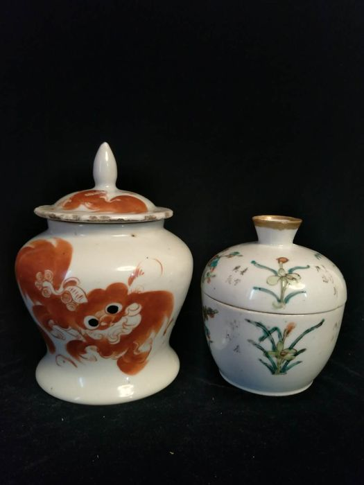 Vase and large pot in porcelain - China - end of 19th century/early 20th century