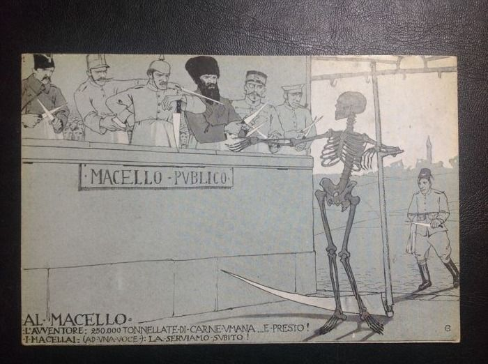 """La morale della guerra"": lot of four satirical postcards of the 1920s"