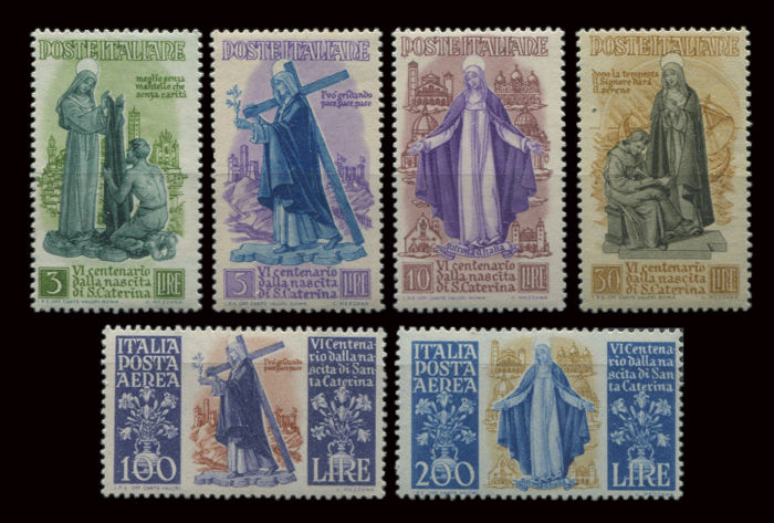 Italia Repubblica 1948 – 6° Centenario della nascita di S. Caterina da Siena Complete series both ordinary post and airmail - Sass. N.B. S133