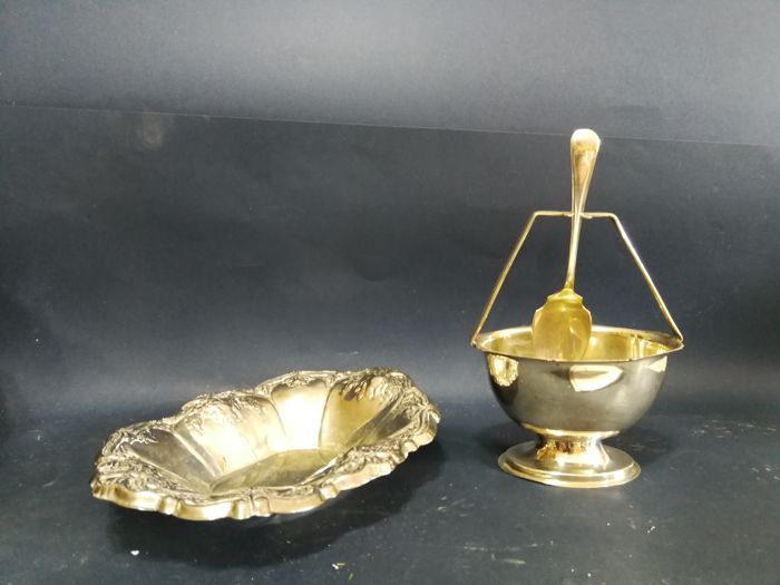 Candy holder and silver plated sugar bowl with spoon support and spoon by Yeoman Plate