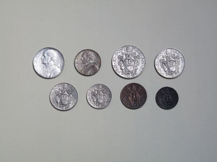 Vatican City - Complete series of 8 coins in Lire (including silver) of Pope Pius XI - 1932 Year IV