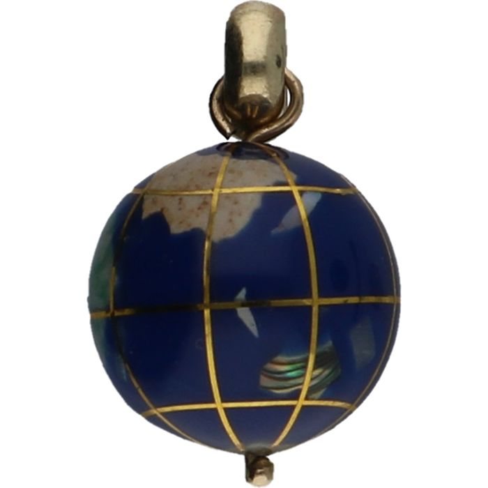 14 kt Yellow gold enamelled globe Size 25 mm x 15 mm