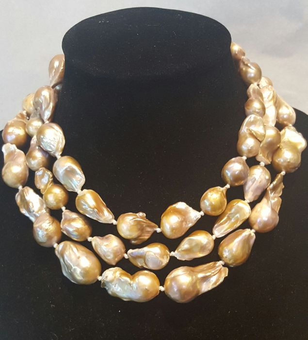 Long XL pearl (15 to 35) necklace, champagne colour - 128 cm