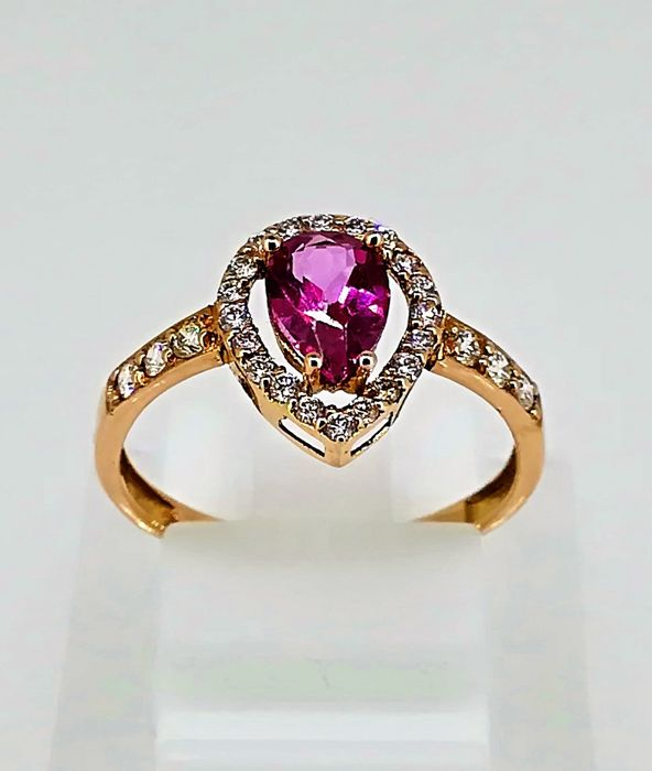 No reserve price Rose gold 18 kt ring 1.50 g, top quality tourmaline and diamonds 1.50 ct G VS, Size 13