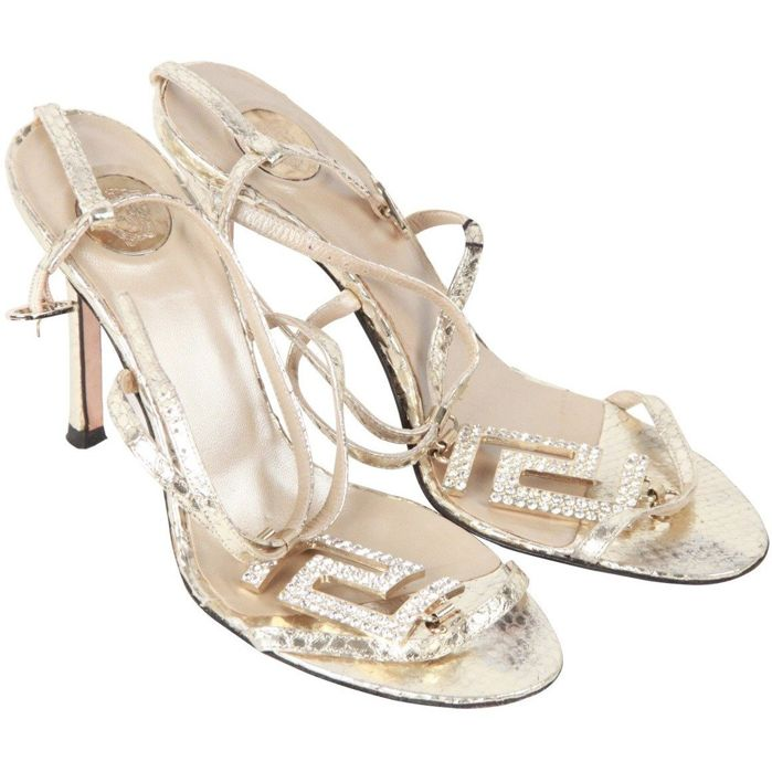 Versace - Metallic Snakeskin Heeled Sandals Shoes Size 38.5