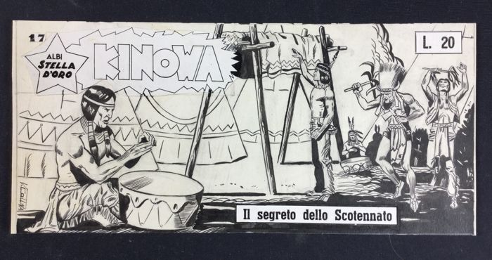 "Coliva, Vittorio - original cover ""Kinowa: Il segreto dello Scotennato"" no. 17 (1958)"
