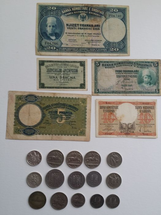 Italy, Colonies and Protectorates: Albania, Ionian Islands, Somalia, Ethiopia - Lot of 15 Coins and 5 Banknotes (3 Silver)