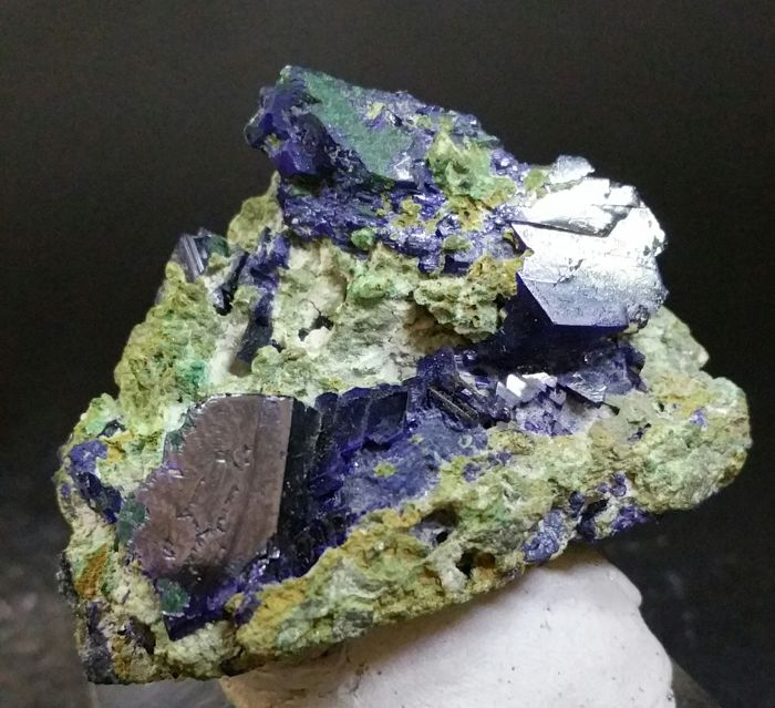 Large Azurite crystals on Malachite Matrix Tsumeb - 58 x 50 mm - 80g