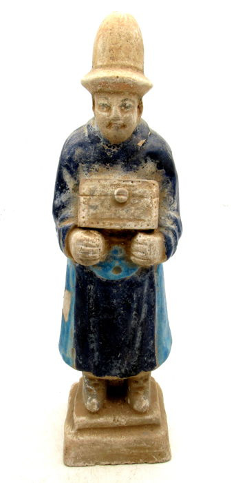 Ancient Chinese Ming Dynasty Terracotta Statue - Figure Carrying a Box - 196mm