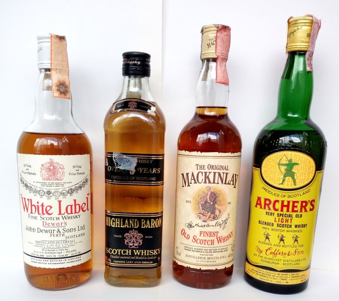 4 bottles - Dewar's White Label 1970s, Highland Baron Mild Light 5 years old 1980s, Archer's By Glenlivet 1990s,  & Mackinlay Finest 5 years old 1990s
