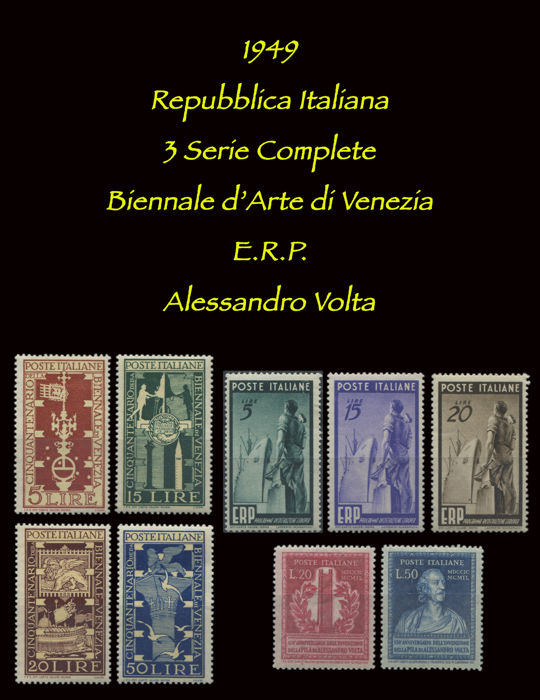 Republic of Italy, 1949 - 3 complete series - Sassone No. S137, S138 and S139