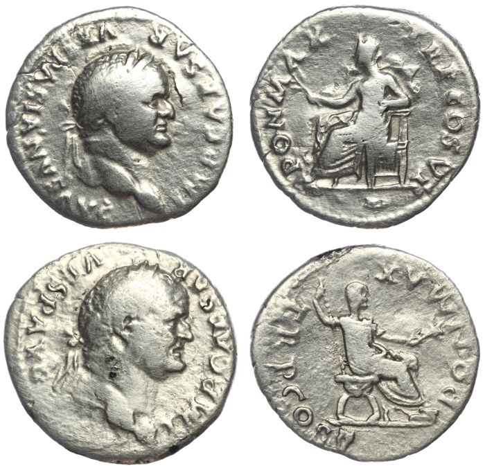 Roman Empire - Two AR denarius - Vespasian - Pax (RIC 772, 19mm, 2,60g) & Pontifex Maximus (RIC 702, 18mm 2,90g) (2x)