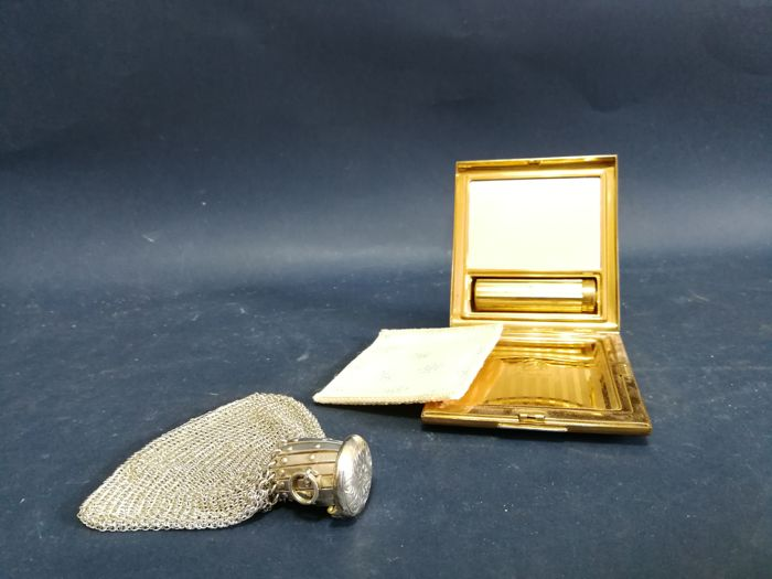 Lipstick Holder and small purse - Silver plated - United Kingdom - 1900-1949