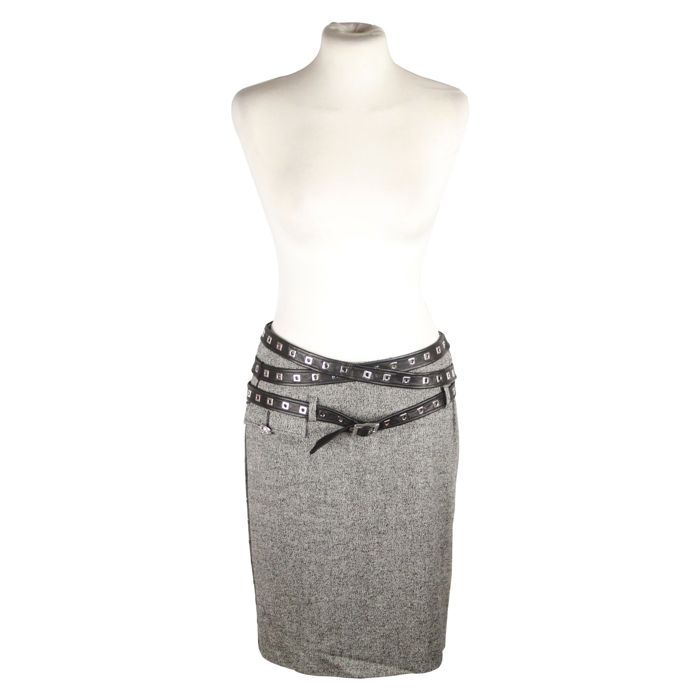 Versace - Gray Wool Blend Pencil Skirt with Leather Wrap Straps