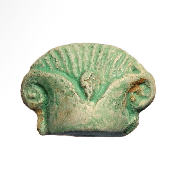 Egyptian Faience Amulet of a Papyrus Flower, 2.3 cm L