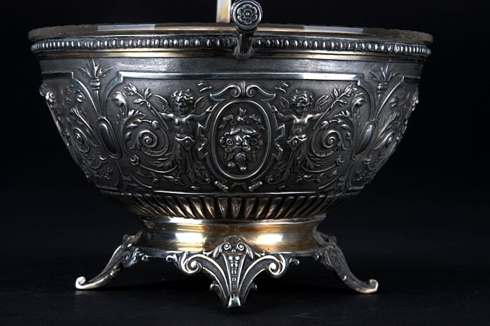 Silver sugar bowl with glass insert