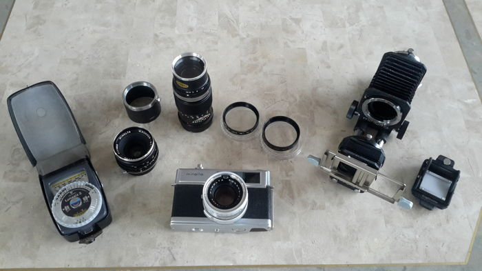 (1965) Minolta collection including HI-Matic 7, complete set with (telephoto) lenses