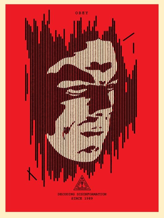 Shepard Fairey (OBEY) - Decoding Disinformation (red)