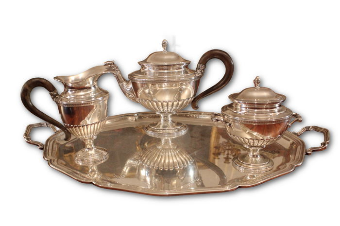 Silver tea set consisting of 3 pieces + tray, Naples, Italy, early 20th century