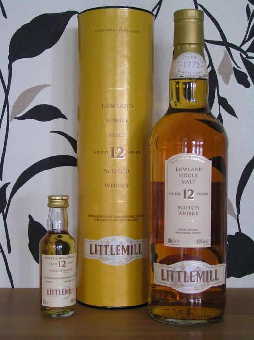 Littlemill 12 years old 700 ml with matching miniature 50 ml