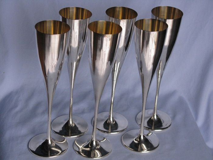 Six Goblets, Silver 800 - Milan, Italy -Silversmith Messulam - 988 g