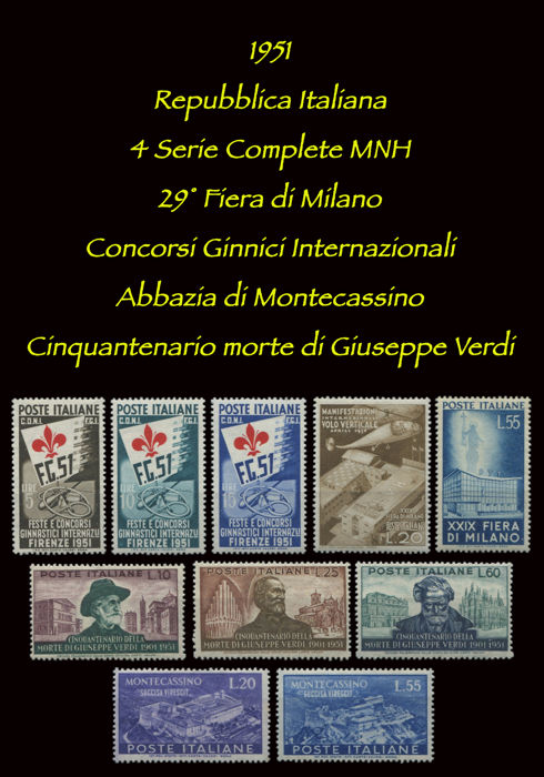 Italy, Republic 1951 - 4 complete series - 29th Milan Fair, International Gymnastics Competition, Montecassino Abbey, 50th anniversary of the death of Giuseppe Verdi; Sass.  Nos  S146; S147; S148; S152