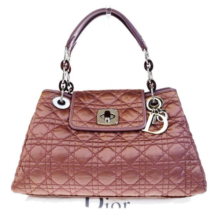 13f2e2841381 Christian Dior - Christian Logos Cannage Chain Shoulder Pink Nylon Leather  Shopper bag