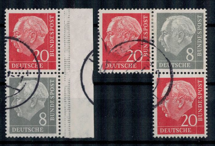 Se-tenant stamps Heuss 1958-60 - horizontal watermark - from booklet sheet no. 5 I/II Michel 2018