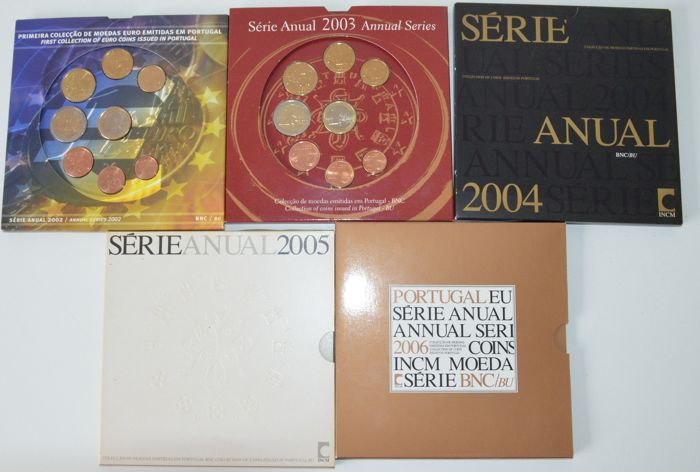 Portugal - Year packs 2002/2006 (5 pieces)