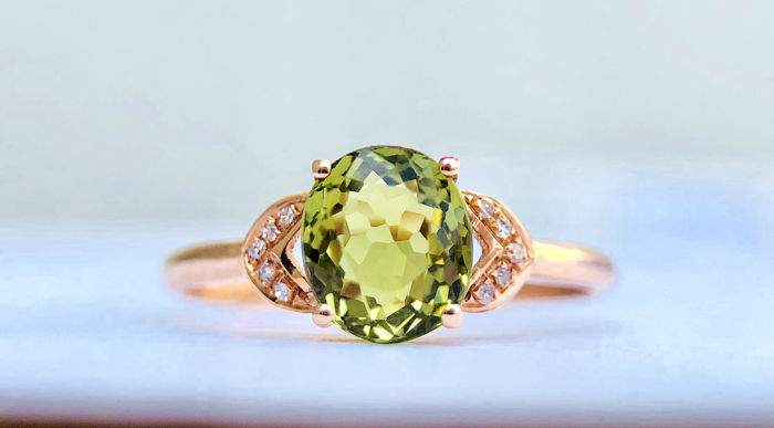 18k gold ring with tourmaline and diamonds size 53. Black Bedroom Furniture Sets. Home Design Ideas