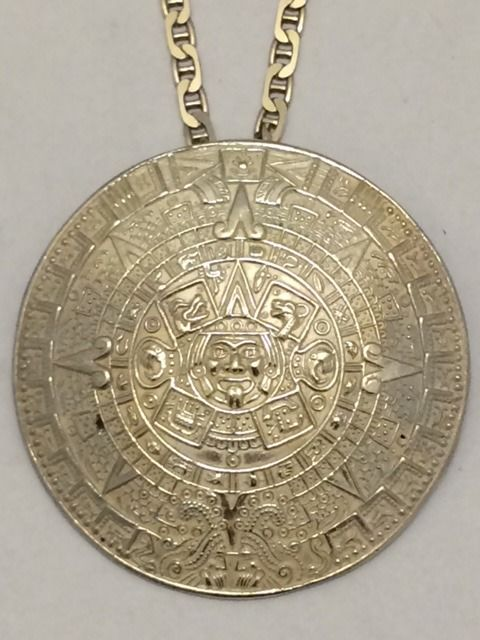 925 silver aztec calendar pendantbrooch on jasseron necklace 925 silver aztec calendar pendantbrooch on jasseron necklace mexico 1960 pendant aloadofball Image collections