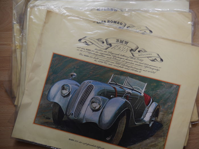 21 old prints - Vintage cars - sealed in foil - From a collector's estate