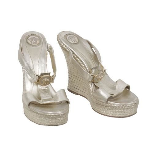 Versace - Gold Tone Leather Medusa Wedges Sandals Shoes